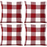 JOHOUSE 4PCS Classic Retro Checkers Plaid Throw Pillow Covers, 18x18inches Red Gingham Check Pillow Covers Farmhouse…
