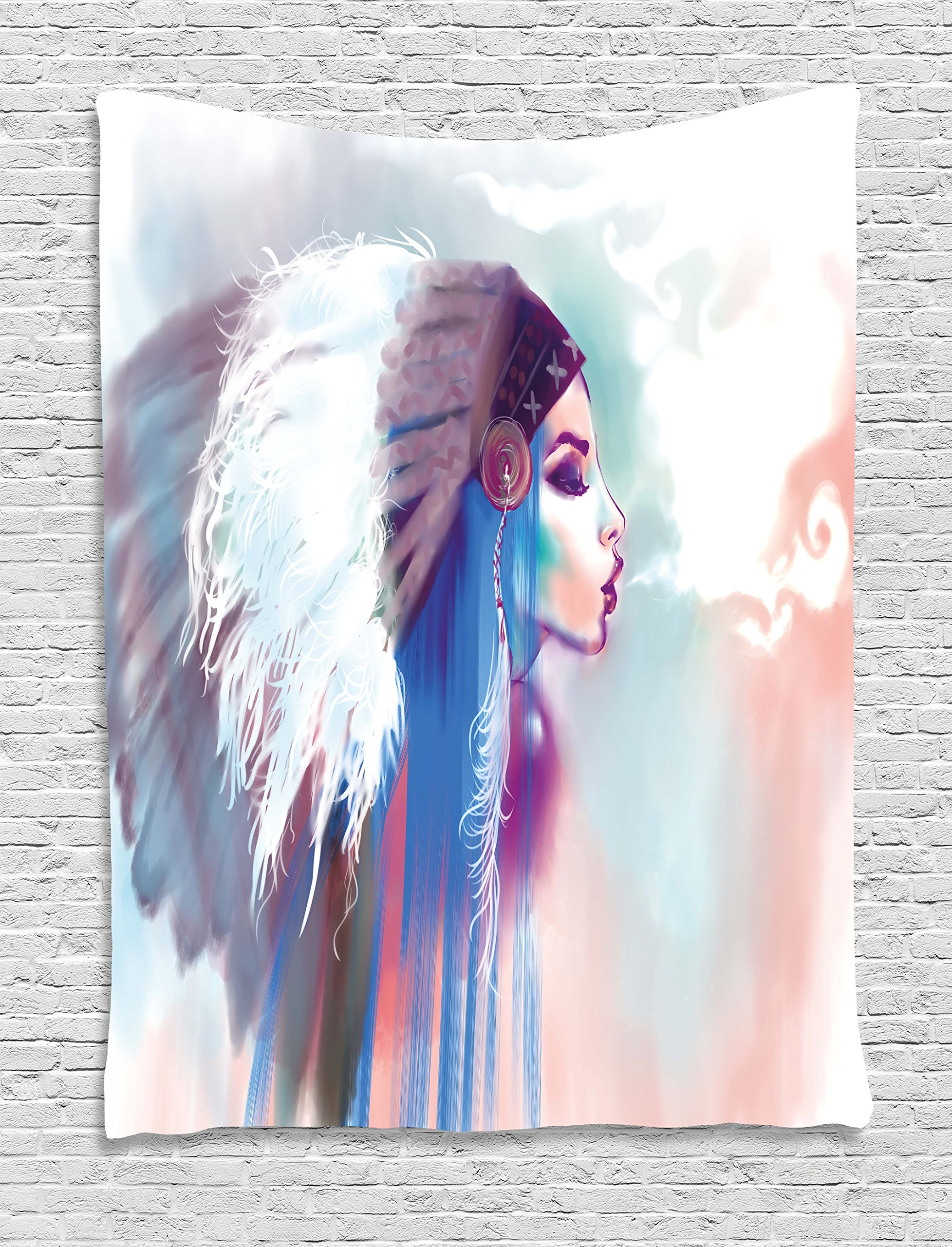 Ambesonne Native American Tapestry, Girl Smoking Pipe Traditional Clothes Abstract Watercolor Background, Wall Hanging Bedroom Living Room Dorm, 40 W X 60 L inches, Multicolor