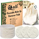 Qalb Reusable Cotton Rounds (16 Pads) | Organic Makeup Remover Pad and Deep Cleansing Facial Wipes | Extra Soft Washable Cott