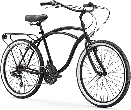 "sixthreezero Around The Block Men's Single-Speed Beach Cruiser Bicycle, 24"" Wheels, Matte Black with Black Seat and Grips"