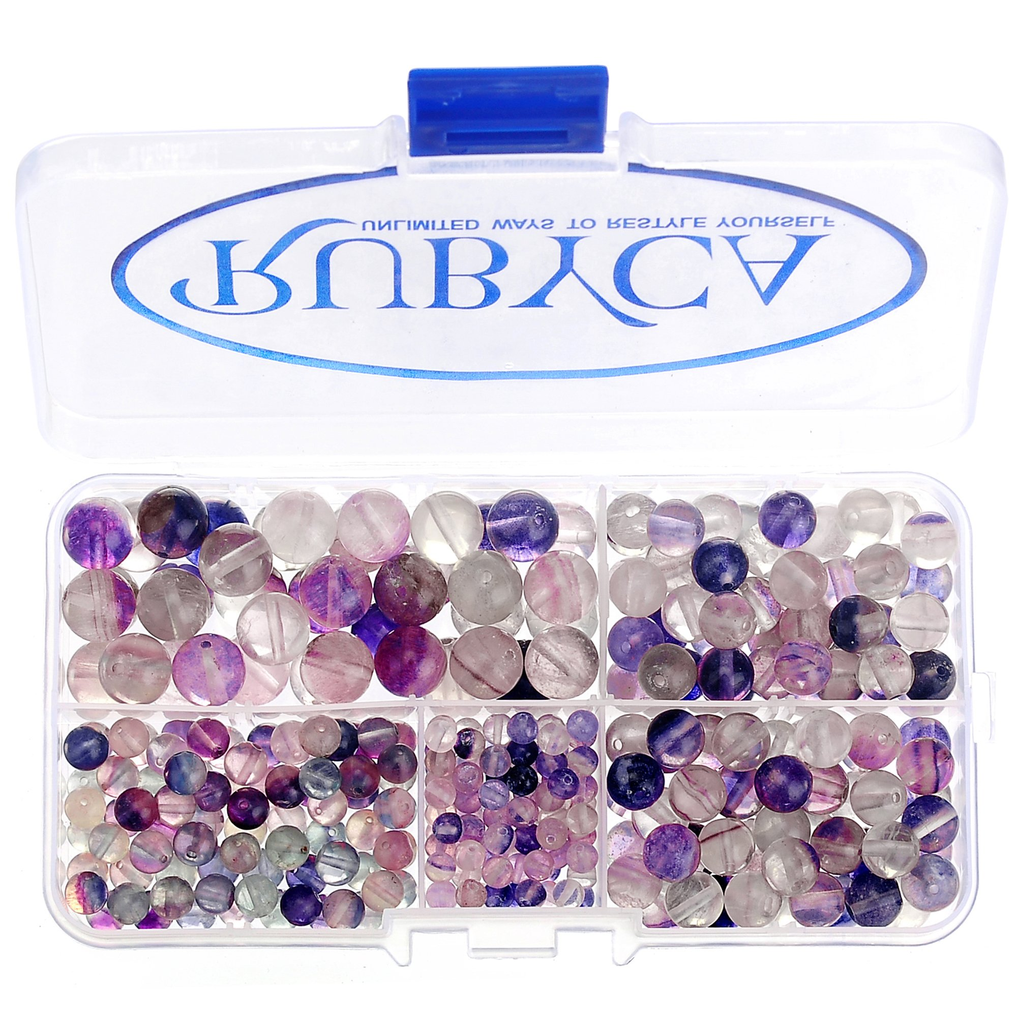 RUBYCA Natural Fluorite Gemstone Round Loose Bead Organizer Plastic Box Jewelry Making Mix Sizes