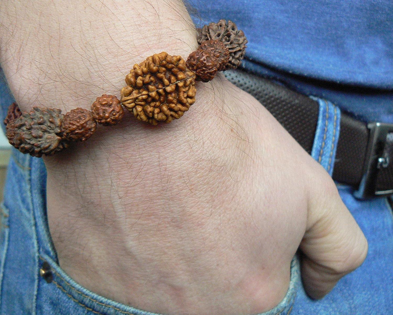 Men Spiritual Yoga Jewelry Hindu 2 3 4 5 6 7 Mukhi Seed HANDMADE Rudraksha Meditation Bracelet Shiva Wrist Mala