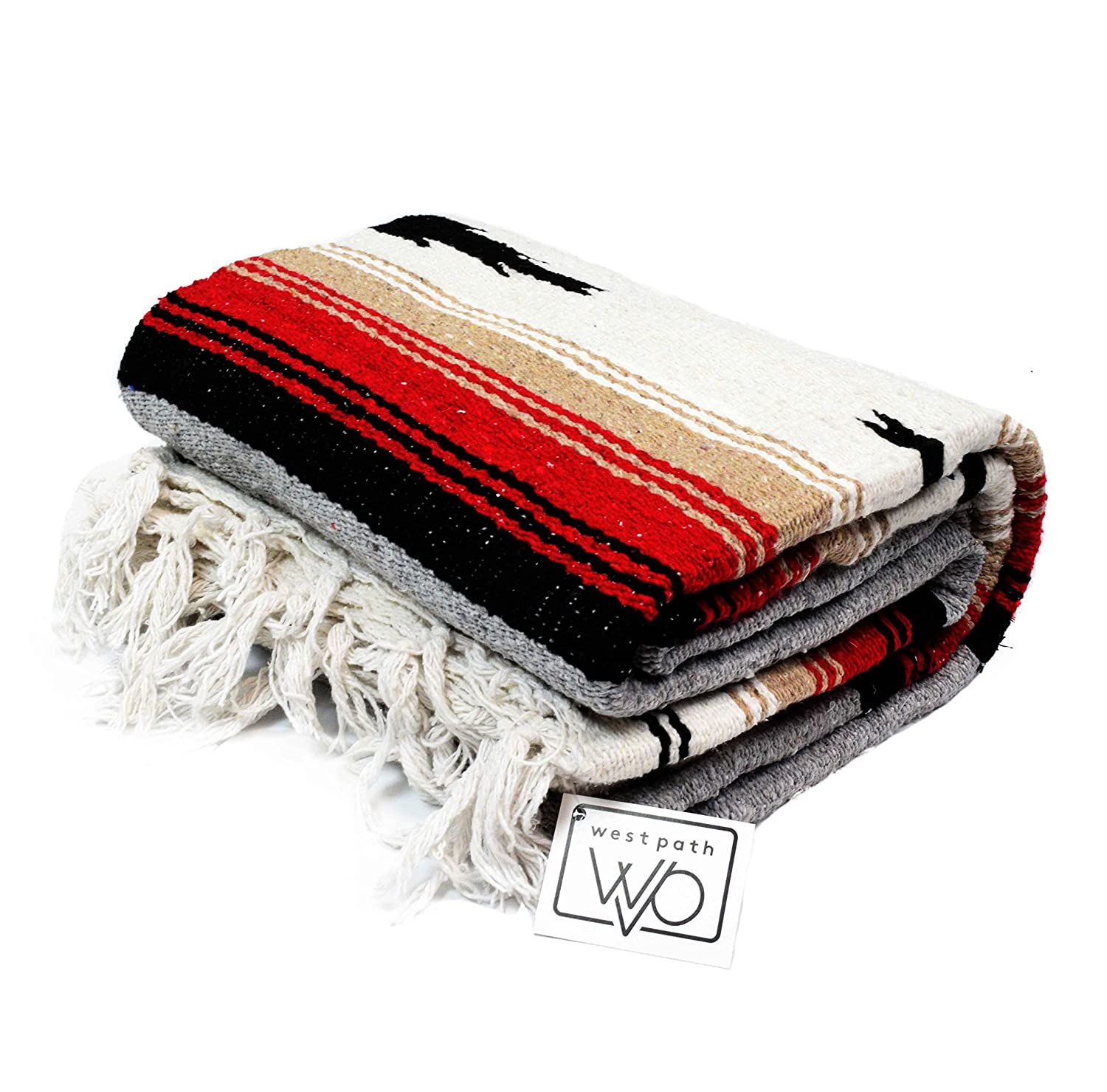 Thick Navajo Diamond Serape with Stripes Open Road Goods Mexican Yoga Blanket