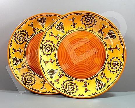KLEO - Dinner Plates Decorative Plates Luncheon Plates Serving Plates - Warli Tribal & Amazon.com: KLEO - Dinner Plates Decorative Plates Luncheon Plates ...