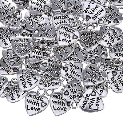 10A36 Lot de 25 breloques en forme de cœur Inscription Made With Love 12 mm