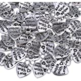 TOAOB 25pcs Antique Silver Heart Charm Made With Love Charm Pendant for DIY Crafting Jewelry Making Findings Accessories