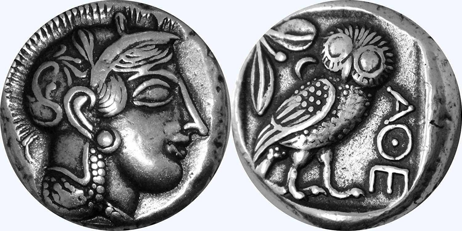 EXQUISITE  ATHENA WITH FAVORITE OWL OF ATTICA 24K GOLD LAYER