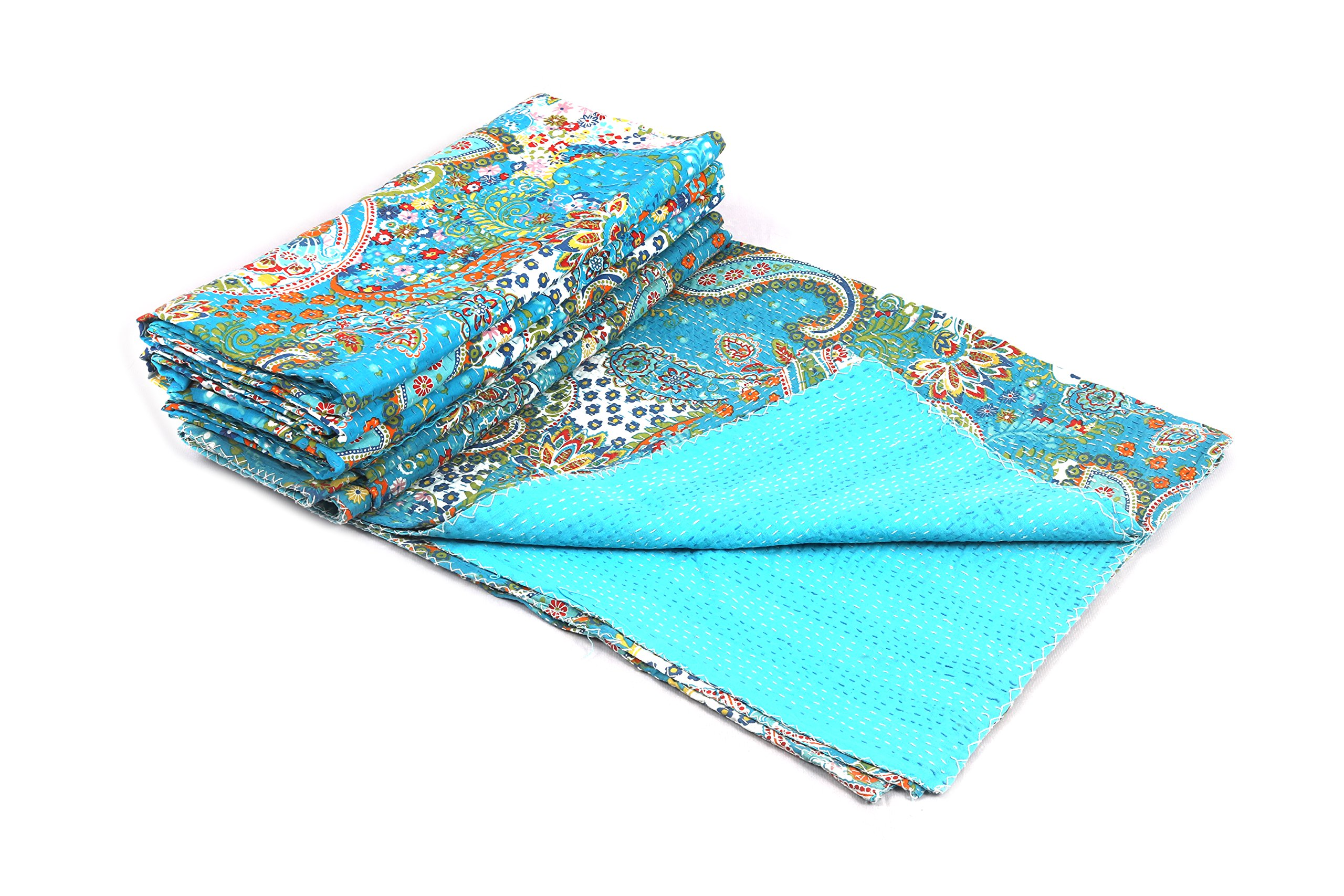 BluSpirits Indian tribal paisley print kantha quilts and cushion covers (1, Queen)