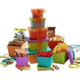 Broadway Basketeers Gift Tower, Happy Birthday Celebration