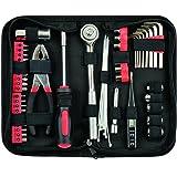 Yuanshikj Precision 56 Piece Tools General Auto Tool Set Kit Zippered Case , Red Color