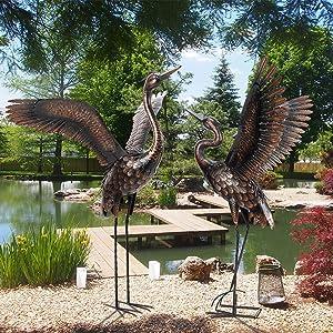Crane Garden Statues Metal Heron Yard Art Statue Sculpture Outdoor Decoration,Set of 2