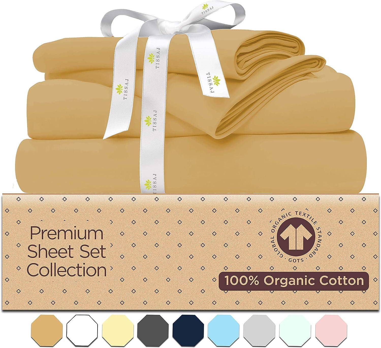 Tissaj Twin Sheet Sets - Camel Khakhi - 100% GOTS Certified Organic Cotton Sheets- 500 – 3 Piece Bedding - 1 Pillow Case, Flat Sheet & Fitted Sheet with 16 Inch Deep Pocket Bed Sheets –Luxury Sheets