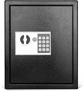 Flexzion Key Cabinet with Electronic Digital Lock, Wall Mounted Key Box 40 Key Capacity Colored Tags & Hooks - Safe Organizer, Security Storage Locker System for Homes, Hotels, Schools, Businesses