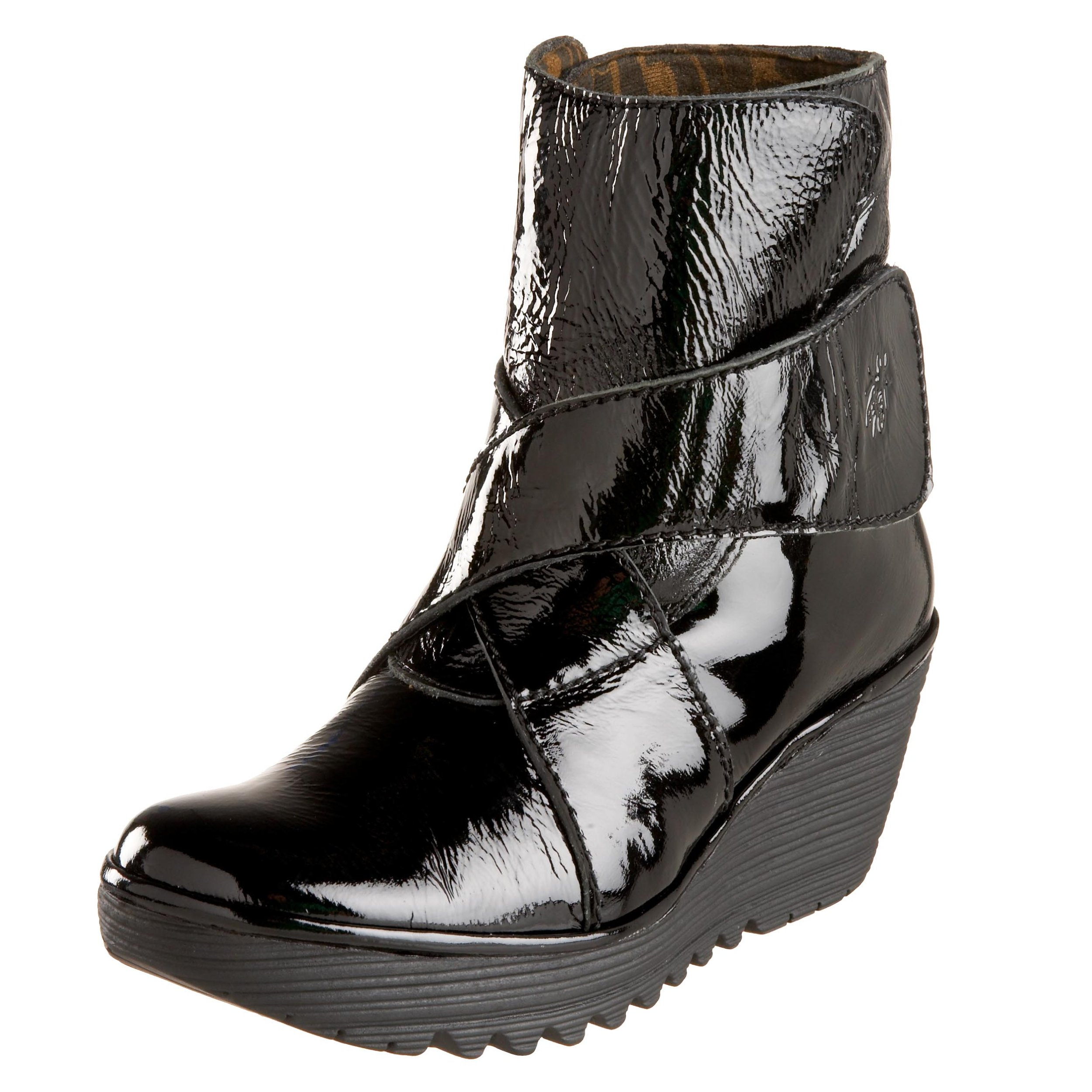 FLY London Women's Yeddo Boot,Black Patent,39 EU (US Women's 8 M)