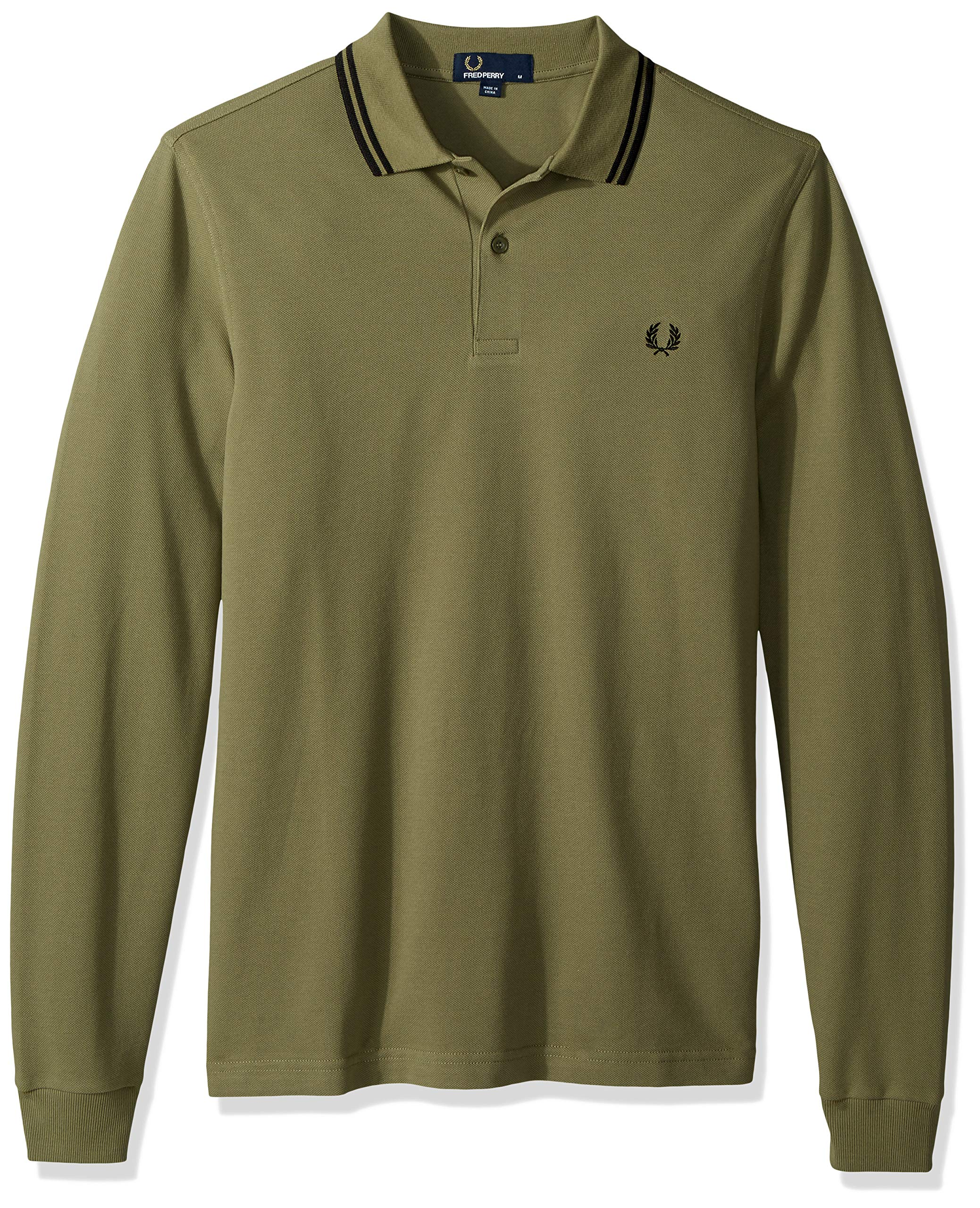 Fred Perry Men's Long Sleeve Twin Tipped Shirt, Olive/Black, X-Large