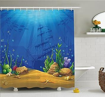 Aquarium Vorhang für die Dusche von ambesonne, marine Life ...