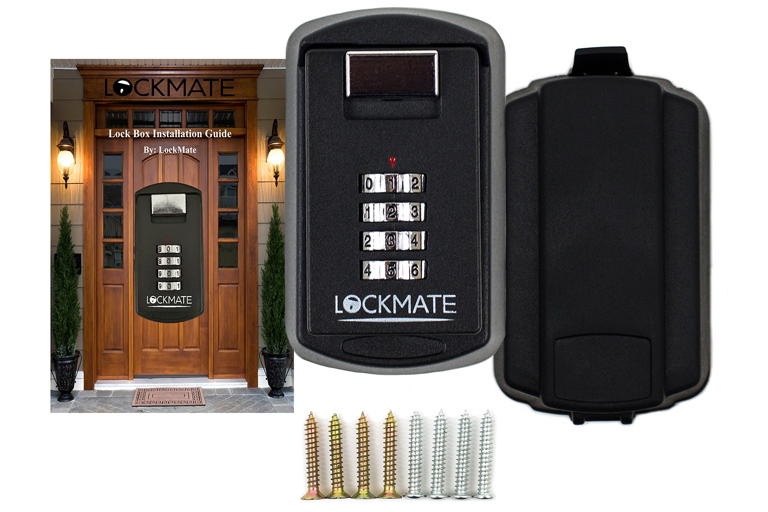 Key Lock Box /4 Digit Security Combination Passcode For Front Door Master Key - Set Includes Wall Mount Installation Kit & Weatherproof Cover (Perfect for Contractors, Realtors, and Rental Properties)