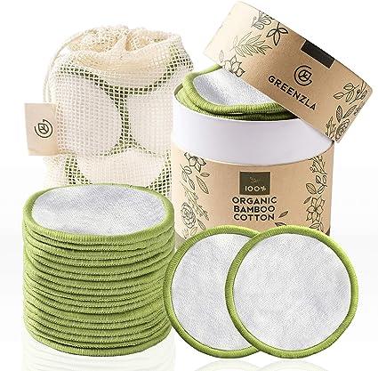 Discos Desmaquillantes Reutilizables Greenzla (20pcs) con bolsa de lavandería lavable y caja redonda para guardarlas |100% algodón de bambú orgánico| Algodones desmaquillantes reutilizables ecológicas: Amazon.es: Belleza