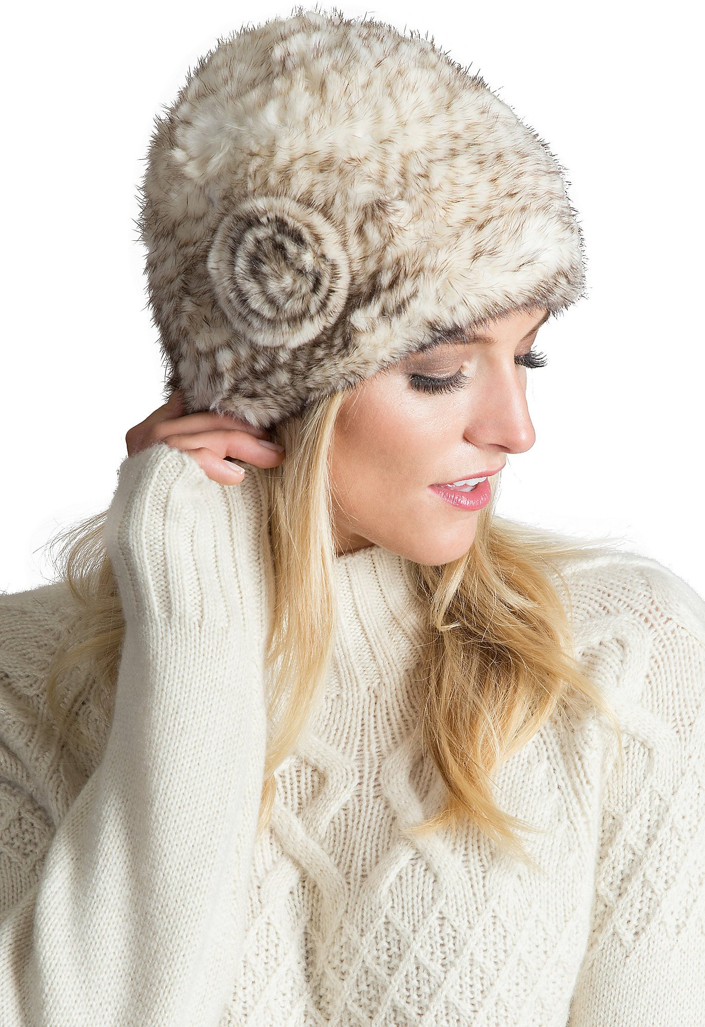 Overland Sheepskin Co. Knitted Mink Fur Beanie Hat With Fur Flower, Bleached Brown, Size 1 Size