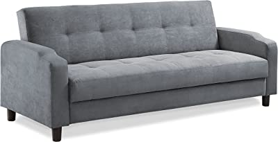 Reno Soft Microfiber Sturdy Wood Frame Button-Tuffed Sleeper Futon Sofa, Converts Bed to Sofa To Bed In Seconds