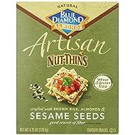 Blue Diamond Almonds Artisan Nut Thins Cracker Crisps, Sesame Seeds, 4.25 Ounce