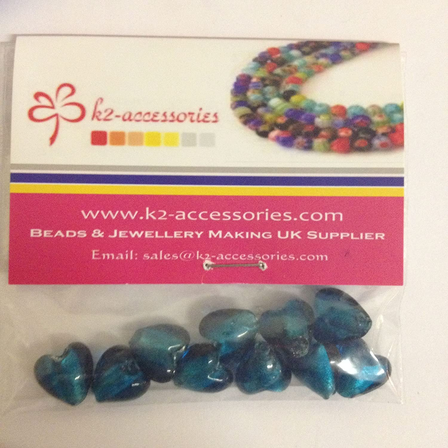 10 pieces 12mm Silver Foil Heart Glass Beads - Turquoise - A4110 k2-accessories