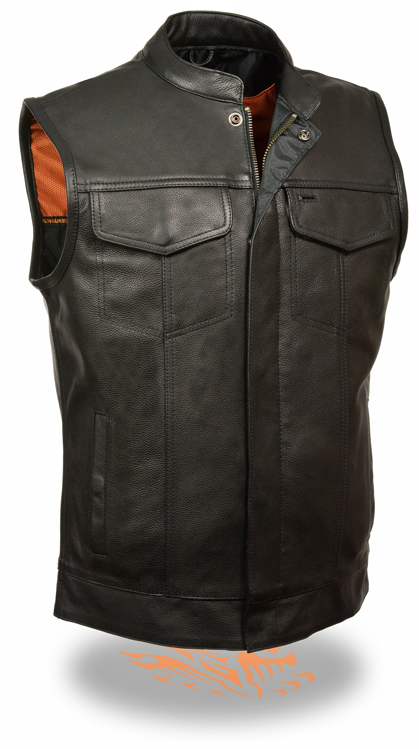 Milwaukee SOA Men's Naked Cowhide Leather Vest Zipper & Snap Front w/ 2 Inside Gun Pockets & Single Panel Back (XX-Large)