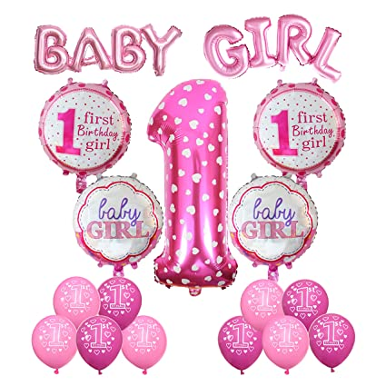 Cocodeko 1st Birthday Decoration Inflatable Helium Foil Balloons Baby Girls Party Air Set