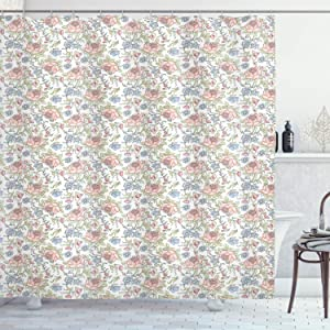 """Lunarable Sketch Shower Curtain, Peonies Combined with Forget Me Not Blossoms Fresh Aquarelle Garden in Springtime, Cloth Fabric Bathroom Decor Set with Hooks, 70"""" Long, Multicolor"""