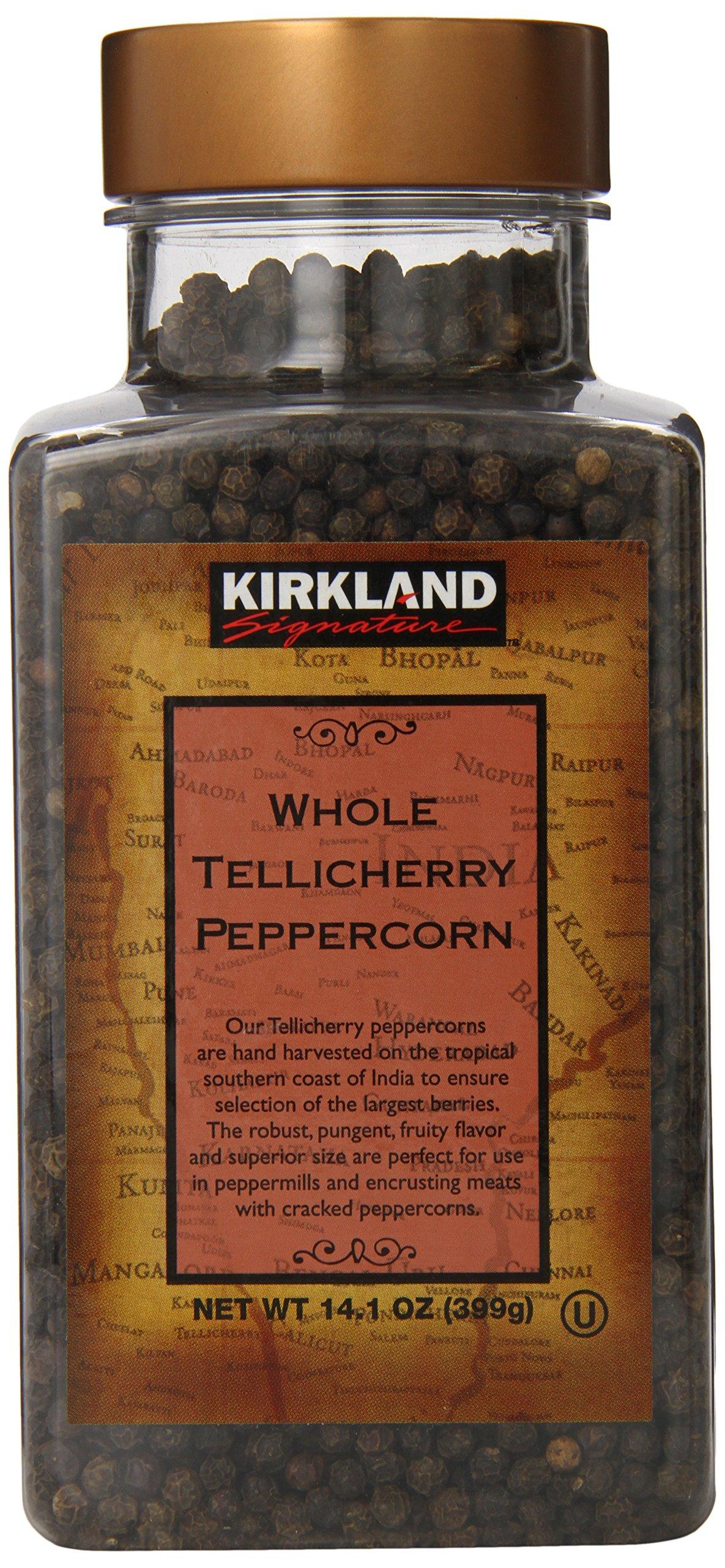 Kirkland Signature Whole Tellicherry Peppercorns, 14.1oz Gourmet Jar