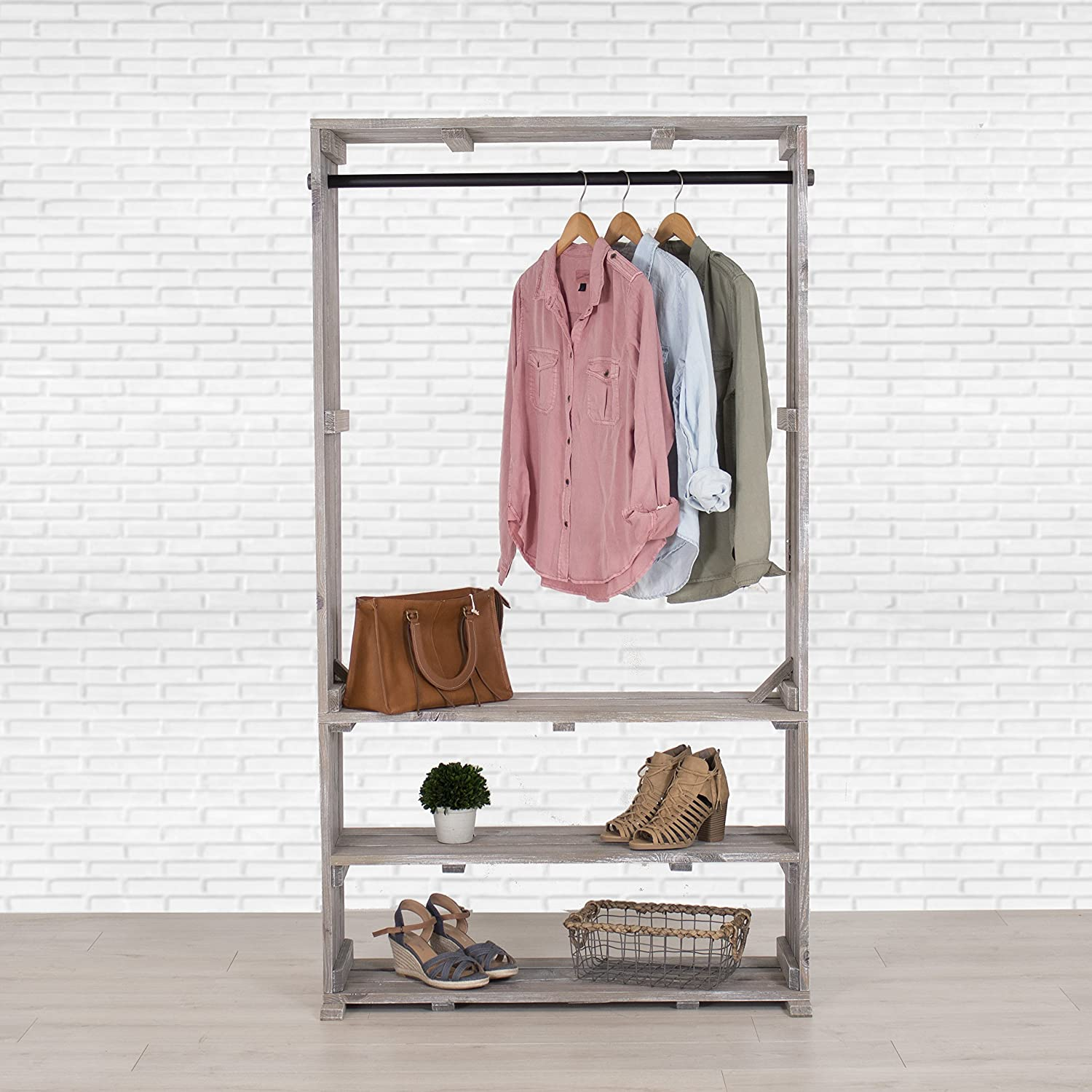 Amazon Wooden Clothing Rack with Shelves Free Standing