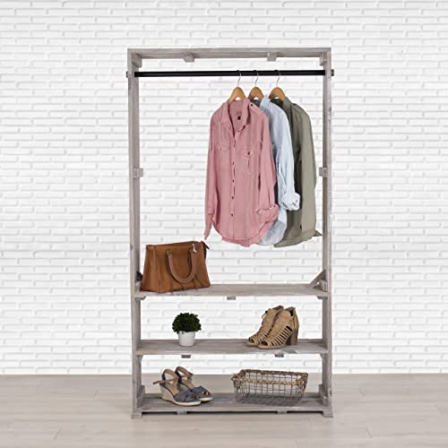 Amazon.com: Wooden Clothing Rack with Shelves, Free Standing