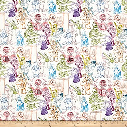 Muppets Rainbow Sketch  100/% Cotton Fabric By The Yard