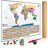 "Julio's Adventures World Travel Tracker Map with Free Flag Pins, Pen and Pick. 17"" x 24"" Scratch Off Your Travels Around the Globe with US States, Flags and Gift Box"