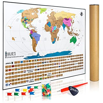 Amazon julios adventures scratch off world map poster julios adventures scratch off world map poster includes complete accessories set all country flags gumiabroncs Choice Image