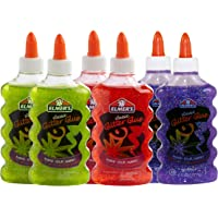Elmer's Liquid Glitter Glue, Washable, Assorted Colors, 6 Ounces Each, 6 Count - Great for Making Slime (2064670)