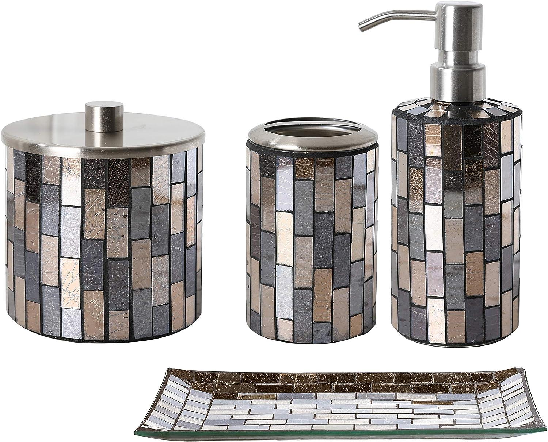 Whole Housewares Bathroom Accessory Sets Black/Gold Mosaic Glass Bathroom  Accessories (Black/Gold 6)
