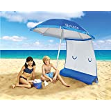 Superior Sun Protection, Ultra Lightweight ezShade 7' Beach Umbrella & Sunshield Combo, Blocks 99% UVA/UVB, Doubles Your Shade and Keeps You Cooler