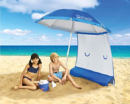 Superior Sun Protection, Ultra Lightweight ezShade 7 Beach Umbrella & Sunshield Combo, Blocks 99% UVA/UVB, Doubles Your Shade and Keeps You Cooler