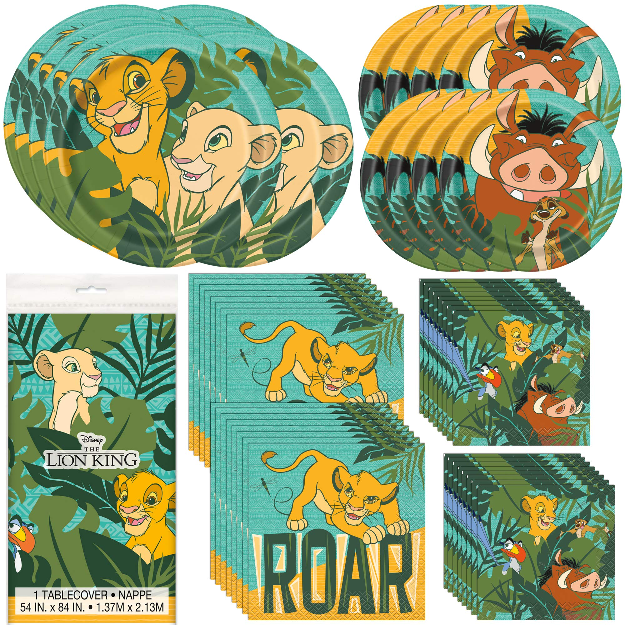 Unique Lion King Dinnerware Bundle Officially Licensed by Unique | Napkins & Plates | Great for Kid's Birthday Party, Cartoon Themed Event, Zoo Motif