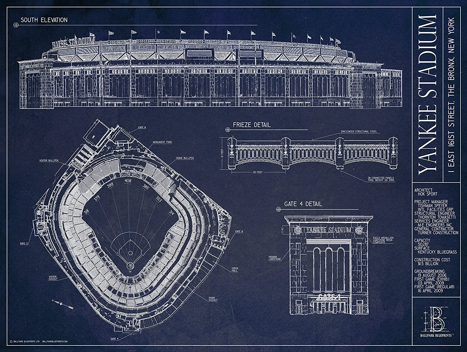 Amazon yankee stadium ballpark blueprint home kitchen malvernweather Gallery