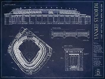 Yankee stadium blueprint style print new york yankees amazon yankee stadium blueprint style print new york yankees malvernweather Gallery