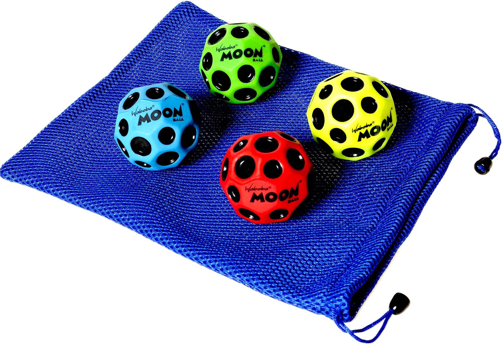 Waboba MOON Extreme Bounce Bundle of 4 Balls _ in 4 Neon Colors _ BONUS Soft Nylon Net Drawstring 9 x 12'' Royal Blue Carry Bag