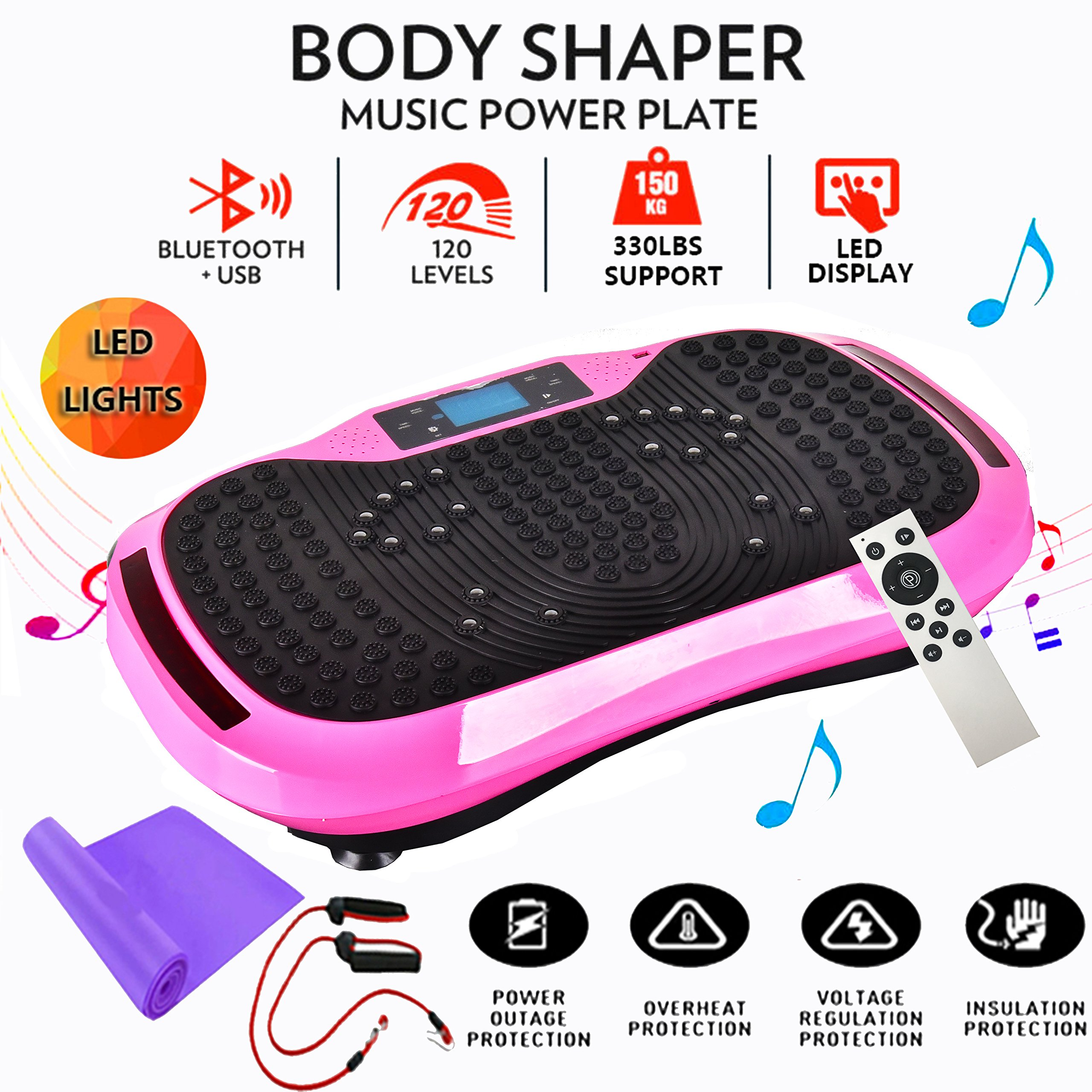 Reliancer Built-in Music Player Fitness Vibration Platform Whole Full Body Shaped Crazy Fit Plate Massage Workout Trainer Exercise Machine Plate w/Integrated USB Port&LED Light (W/Music-Pink) by Reliancer (Image #1)
