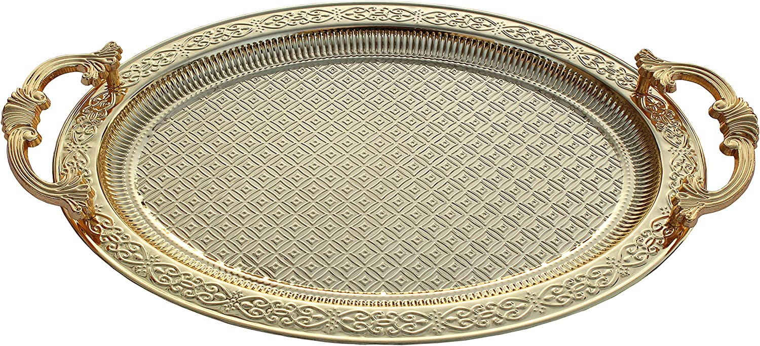 BAYKUL Turkish Ottoman Coffee Tea Beverage Gold Serving Oval Tray, Luxury Metal Chrom Moroccan Decorative Breakfast Dinner Table, Ottoman Trays Extra Large (Gold)