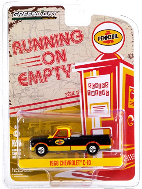 1968 Chevy C-10 Pickup Truck with Toolbox Pennzoil Black and Yellow Running on Empty Series 12 1/64 Diecast Model Car by Greenlight 41120 D