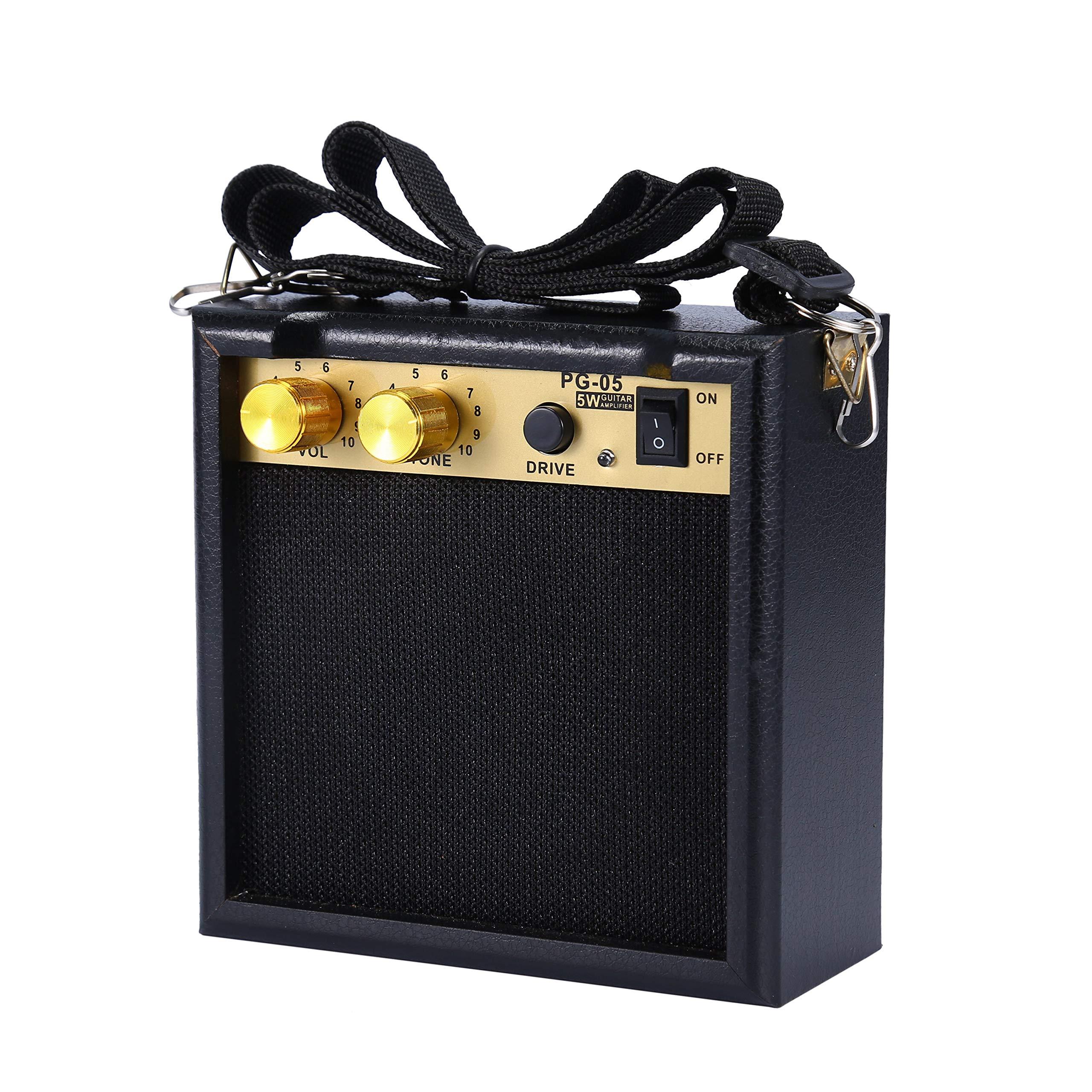 Asmuse Mini Amplificador guitarra 5W Combo Bajo Eléctrico Instrumentos Amp con efecto de overdrive y Batería