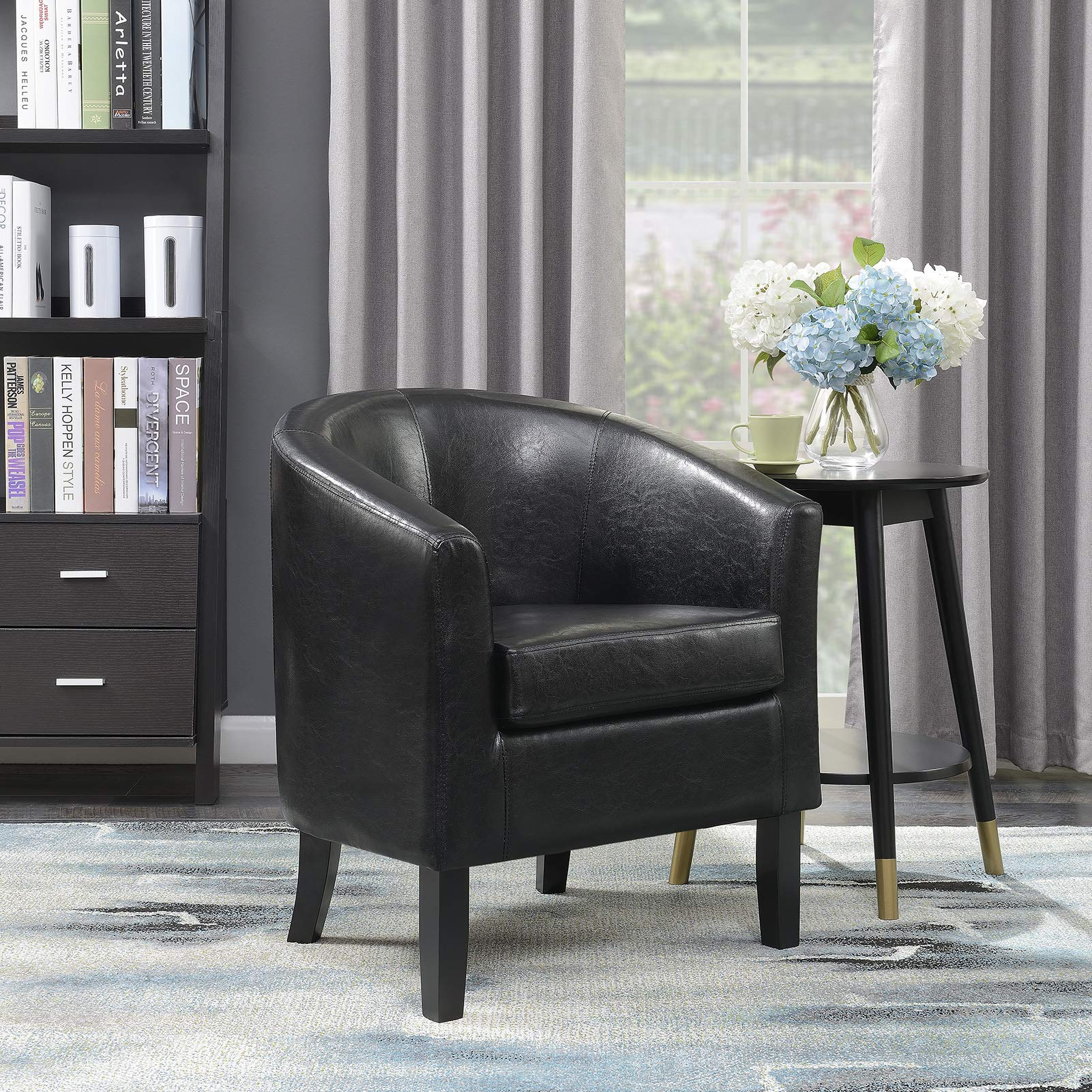 Belleze Modern Club Chair Accent Elegance Faux Leather Living Room Armrest Elegance Seat, Black by Belleze
