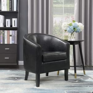 Belleze Modern Club Chair Accent Elegance Faux Leather Living Room Armrest Elegance Seat, Black