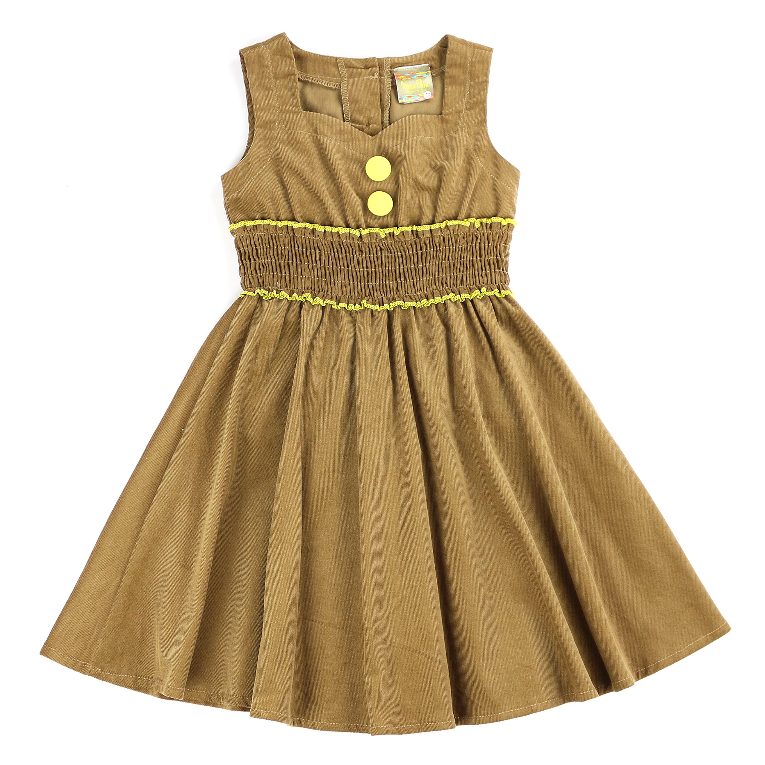 MARIA ELENA - Toddlers and Girls Stylish Vintage Classy Audrey Sweetheart Collar Dress in Camel Fine Wale Corduroy 3T
